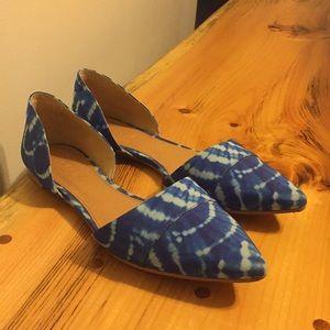 Size 8 j crew blue tie dye flats